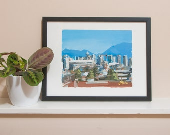 """Acrylic Painting on Paper // Downtown Vancouver (Vancouver no. 07) // 11"""" x 9"""" // Original Joanne Hastie Painting"""