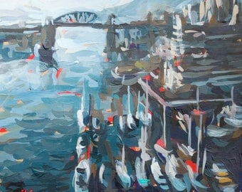 """Original Painting // From Granville Bridge (Vancouver no. 70) // 8"""" x 8"""" // Acrylic on Paper"""
