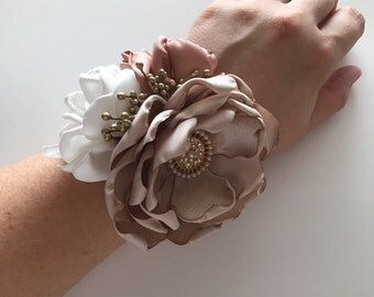 Rose Gold, Champagne and Cream Wrist Corsage