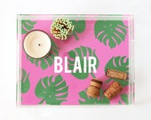Personalized Acrylic Tray Custom Lucite Tray Tropical Leaf Bar Cart Tray Monstera Leaf Coffee Table Tray Pink Green Jewelry Vanity Tray