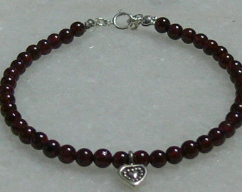 Ladies garnet bracelet with Karen Hill tribe heart Valentine's gift