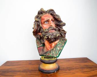Vintage Plaster Statue Mythological Deity Bearded Man Garden Art Sculpture Davis, Unique Yard Art Decor Neptune Decoration