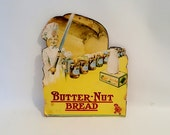 Antique Store Display Advertisement Colored Grocery Store Bread Sign Butter -Nut Bread Advertisement Vintage Bread Food Store Sign