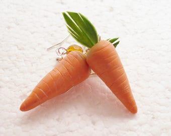 Carrot Earrings. Polymer clay.
