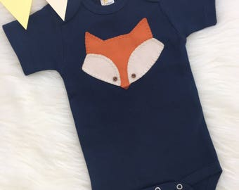 Baby fox onesie, hand sewn applique, cute fox- personalize with your baby's name!