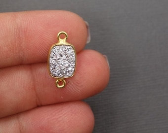 12% off Wholesale Druzy Connector Bezel Pendant Titanium treated Light Silver 10x8mm rectangle Gold Plated (S41B10-09)