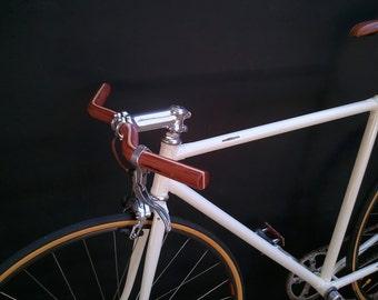 bubinga and ash wood moustache bicycle handlebar - wooden bicycle handlebar