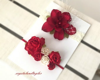 Set of Two Headbands in Red and Ivory, Rose Headbands, Baby Girl Headbands, Photo Prop, Baby Headband, Christmas Headband, Red Flowers