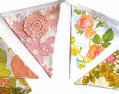 Vintage Retro Pink / Peach & Lace, Floral Flag Bunting. Shabby Chic, Party Decoration  Wall hanging, Parties, Party, Wedding etc