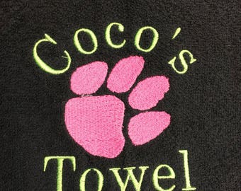 Doggie towel, Personalized dog towel, pet towel, cat towel, doggy gift, drool towel,