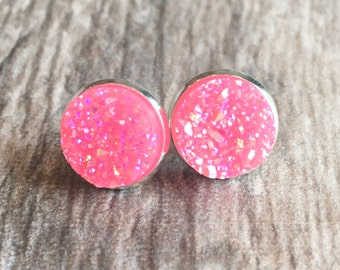 Pink Druzy Earrings,  Resin Druzy Earrings, Gemstone Earrings, Druzy Stud Earrings, Silver Druzy Jewelry