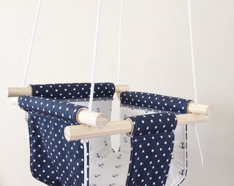 Navy and White Dots and Anchors Fabric Baby and Toddler Swing - Fabric and Wood Interior Swing - Baby Entertainement