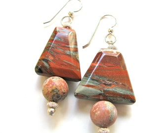 Gemstone earrings, red and gray Jasper trapezoids and round beads, Sterling Silver findings and beads B-379