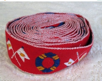HOLIDAY SALE 40% Off Vintage 3+ Yards Red Nautical Woven Embroidered Ribbon Trim
