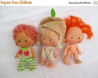 Spring SALE 30% OFF Vintage Cherry Cuddler, Apricot and Apple Dumpling Dolls From Strawberry Shortcake collection, 1979 American Greetings