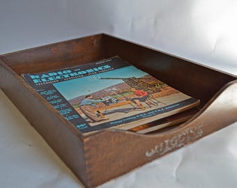 Vintage Wood Desk Paper Tray - Retro Office Decor