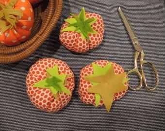 Tomato Pin Cushion -Heirloom Tomato- red or orange polka  Dot