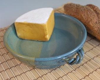 Blue Green Brie Baker  - Handmade Pottery Baking Dish