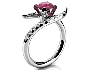 Gorgeous 14K White Gold 1.0 Ct Deep Red Ruby Diamond Engagement Ring R429-14KWGDDRR