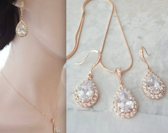 Rose gold jewelry set, AAA Cubic zirconias, Rose gold bridal jewelry set, Rose gold wedding jewelry set ~ Rose gold wedding jewelry, MIA