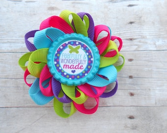 Fearfully and Wonderfully made Loopy Flower Hair Bow
