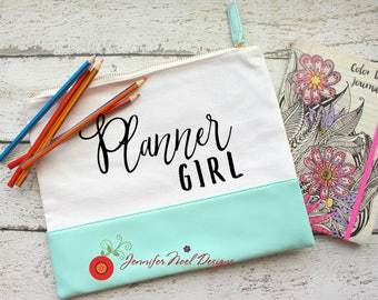 Personalized Canvas Leather Make Up Bag, Personalized Pencil Case, Planner Supplies, Pencil Pouch, Gift for Mom, gift for planners, zippered
