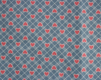 Fabric, 80s Blue Plaid with Pink Hearts