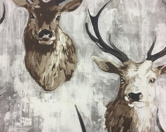 Stags cotton print fabric in Natural, Gold or Olive by the metre