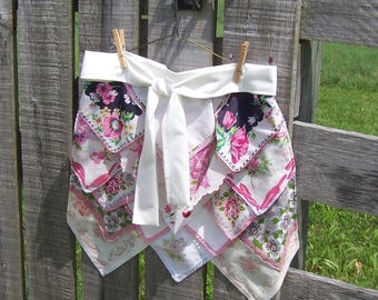 Handkerchief Apron in Pink and White, Vintage Hankies, for Tea Parties or Gourmet Cook, Retirement, or Hostess Gift