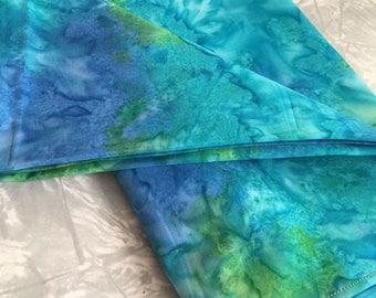 Vivid Blue-Green Tie-Dye Altar Cloth - tropical, shrine cloth, tarot spread cloth, reversible