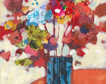 Flower Vase, original painting in mixed media