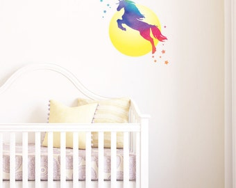Rainbow Unicorn With Moon And Stars | Removable Wall Sticker & Decal | LSB0275CLR