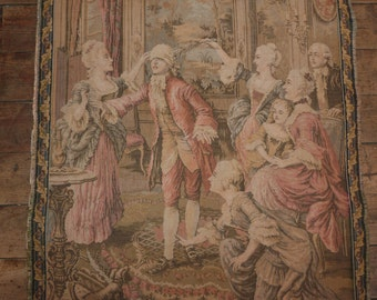 Antique French tapestry wall hanging art decor 1900s Chateau wall tapestry w elegant scene French Chateau boudoir home decor wall tapestries