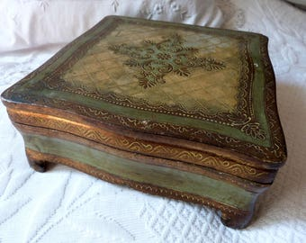 Antique Italian Florentine wooden painted gilded box BIG keepsake, letter, sewing or jewelry box w gilt floral decor, curved feet