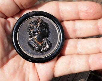 """Antique Near 2""""  Mourning Black Celluloid Cameo on Black Tin Button Brooch Cameo Highlighted with Gold.  69.90.   Brooch Adapter Avail."""