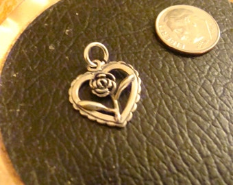 Heart with Rose Silver Charm or Pendant, Memory Pendant