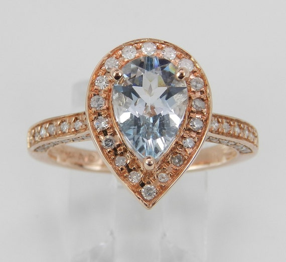 Diamond and Aquamarine Halo Engagement Ring Aqua 14K Rose Gold Size 7 March Birthstone