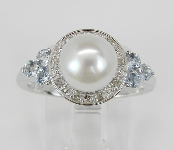Pearl Aquamarine Diamond Halo Engagement Ring Promise 14K White Gold Size 7.25 March June Birthstone