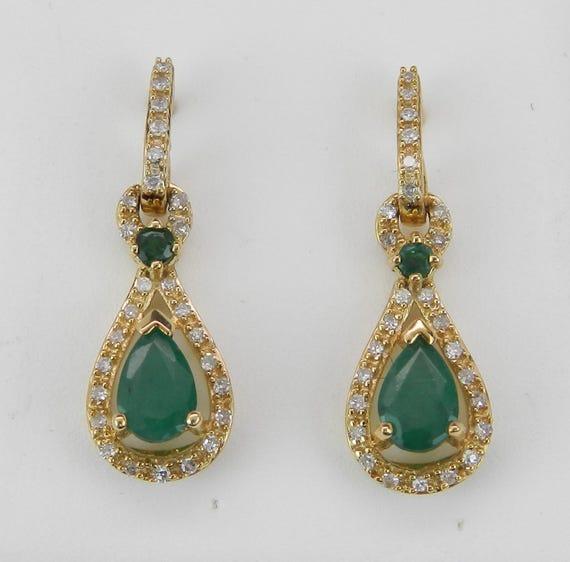 14K Yellow Gold Emerald and Diamond Drop Earrings Wedding Gift May Birthstone