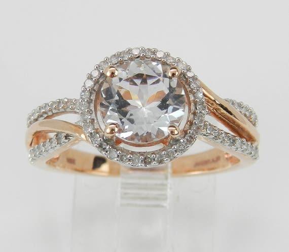 Aquamarine and Diamond Halo Engagement Ring Aqua Rose Gold Size 7 March Gem