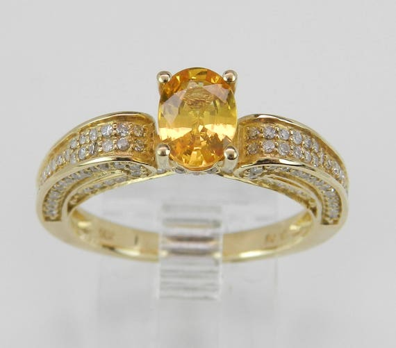 Diamond and Yellow Sapphire Engagement Ring Promise Ring 14K Gold Size 7