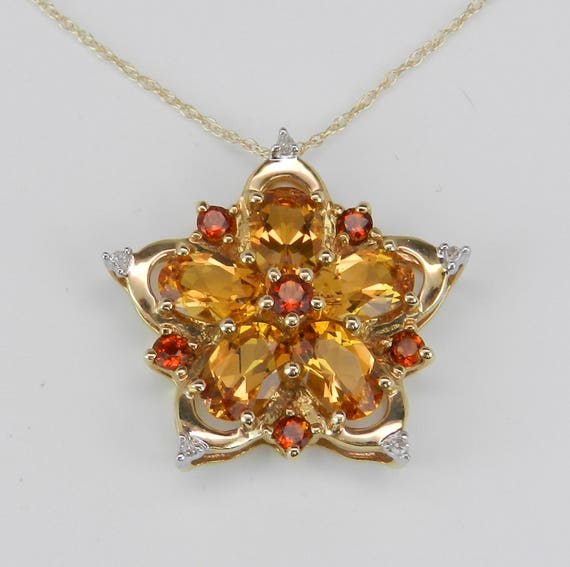 """Citrine and Diamond Cluster Flower Pendant Necklace 14K Yellow Gold 18"""" Chain"""