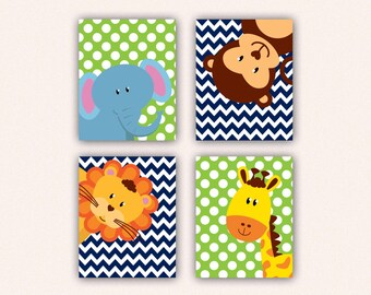 Jungle Animal Nursery Print Set - Elephant Monkey Giraffe Lion Kids Bedroom Art, Chevron and Polka Dot Safari Decor in Navy and Lime (5008)