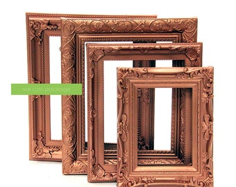 COPPER Picture Frames - Set of 4 - Wedding Frames & Shabby Chic  Industrial Frames