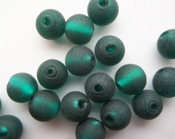 12mm, 25CT. Handmade Silver Foil Glass Beads, Frosted, Round, Teal, S57