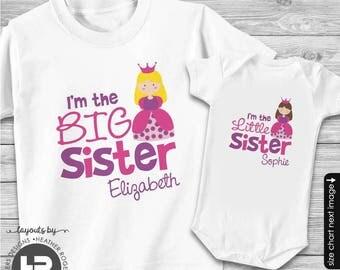 Princess Big Sister Shirt & Princess Little Sister Shirt or Bodysuit - 2 Personalized Sibling Shirts