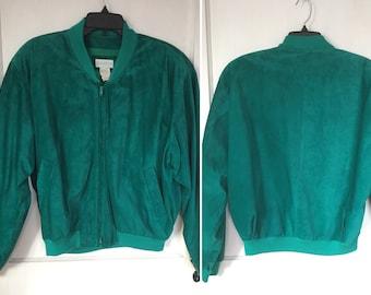 Vintage Suede Jacket & Pencil Skirt Emerald 80s Bomberjacket Country Fair