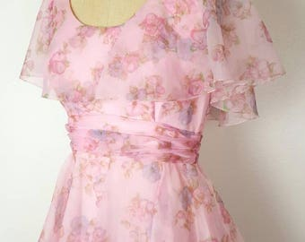 Sylvia Ann Pretty Pink Floral Layered Lace Dress - S/M