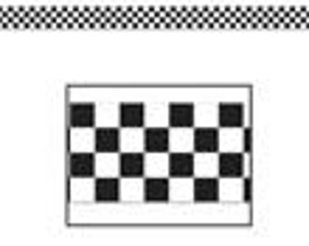 Black & White Checked Plastic Race Car Flag Look - 50 foot roll