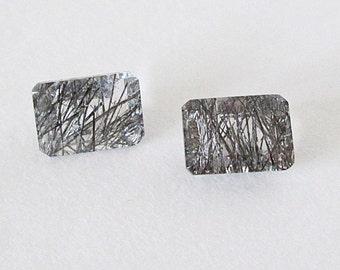 Black Rutilated Quartz 7x5mm Emerald Cut Matched Pair 2.00cts